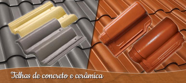 Telhas de concreto e cerâmica