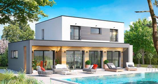 Casa com telhado embutido e pergolado integrado.
