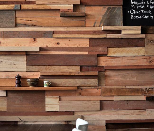 Parede de Madeira de Construção Reciclada