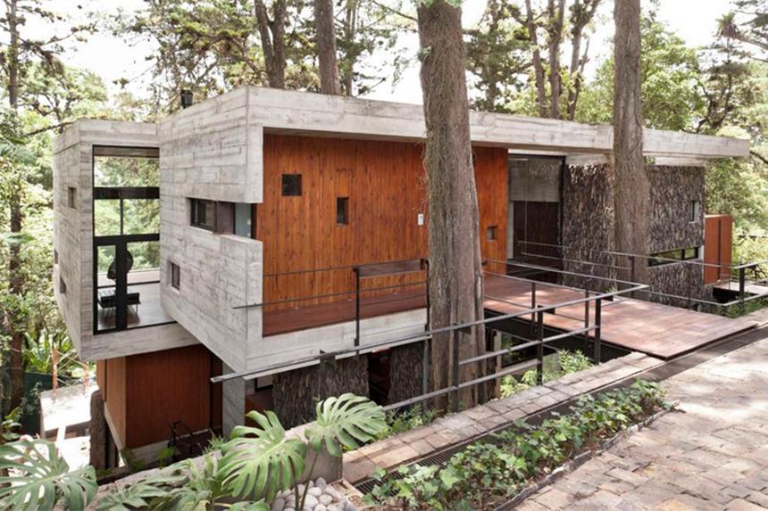 Casa de Concreto e Madeira