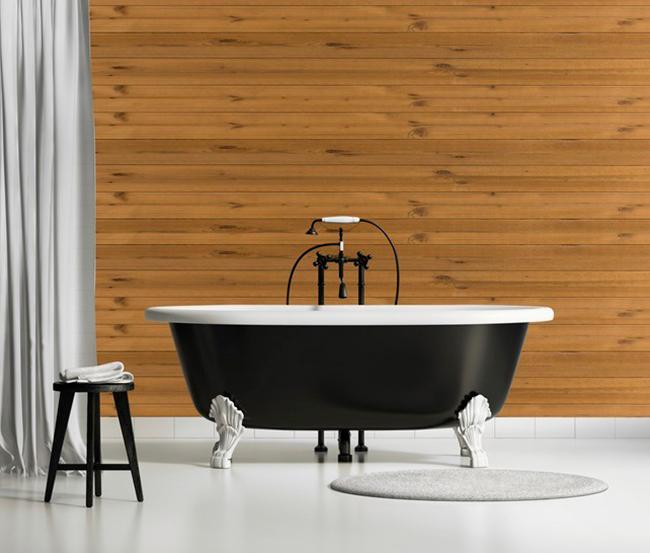 Banheiro com Parede de Madeira!