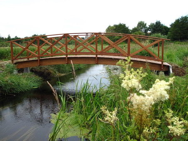 Ponte feita com algumas madeiras, entre elas a cupiúba.