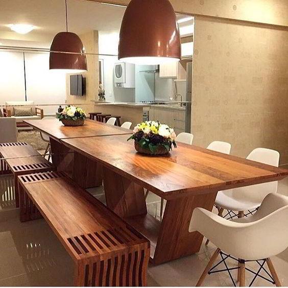 Mesa de jantar sofisticada de jequitibá!