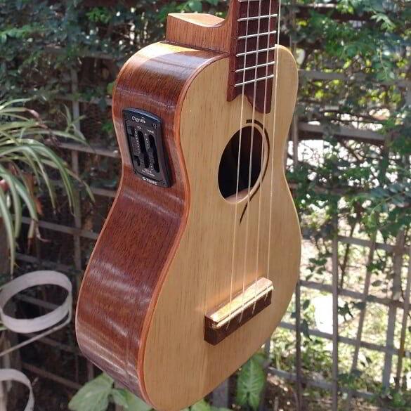 Madeira caixeta e outras aplicadas em belo ukulele.