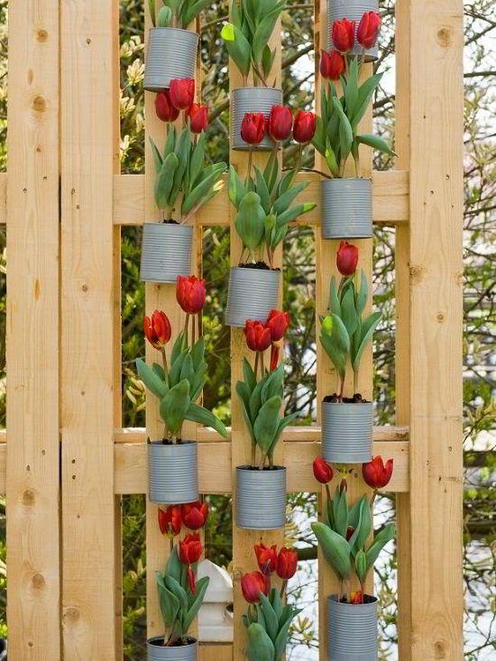 Combinação sustentável de jardim vertical de madeira pinus com vasos feito de latinhas reaproveitadas.