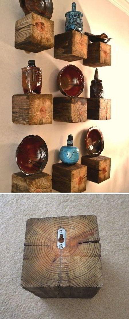Prateleira de madeira rústica diferente.