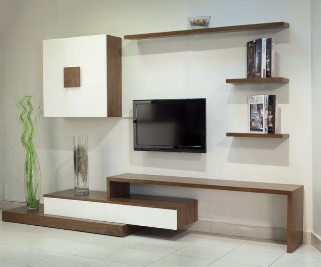 Projeto moderno e elegante com prateleiras de madeira para sala de TV.