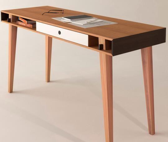 Escrivaninha de escritório de madeira goiabão.