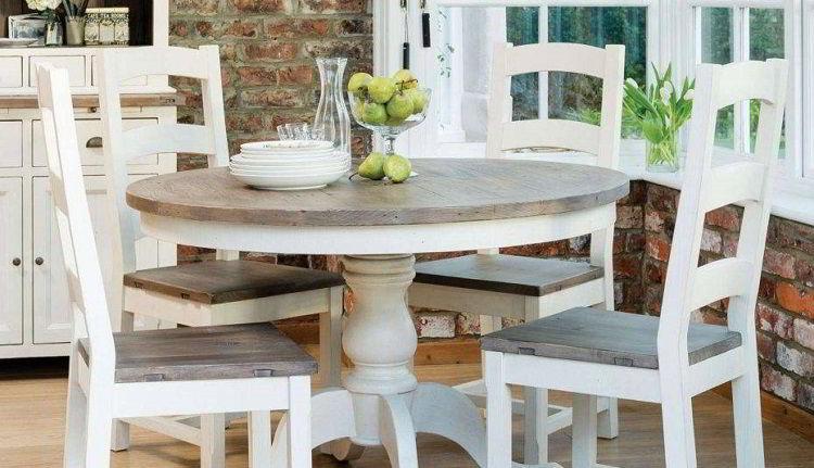 Mesa de jantar de madeira carvalho branca e cinza.