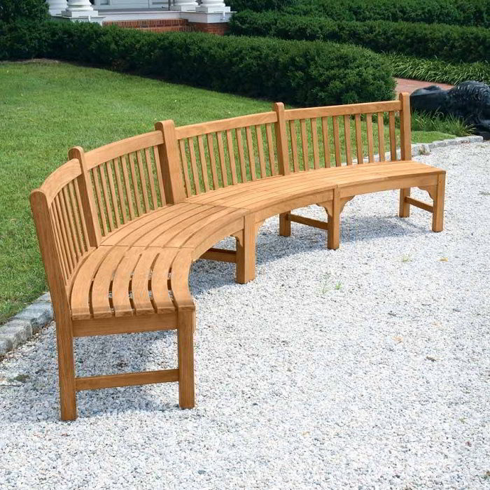 Banco de madeira teca grande contemporâneo em jardim