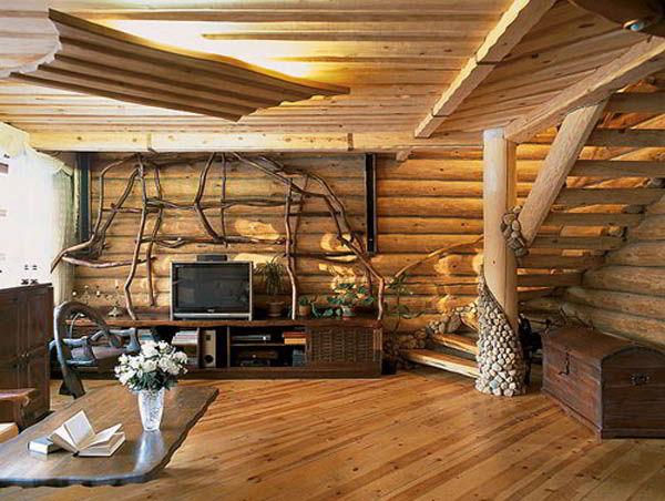 Elementos de madeira rústica na decoração.