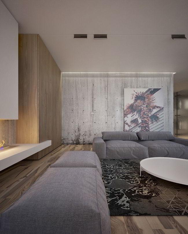 Sala de estar que aposta no combo concreto + madeira.