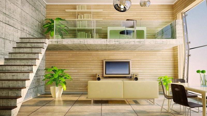 Decoração com madeira em revestimento de paredes.