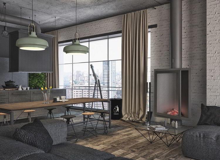Lindo ambiente em estilo industrial com concreto e madeira.
