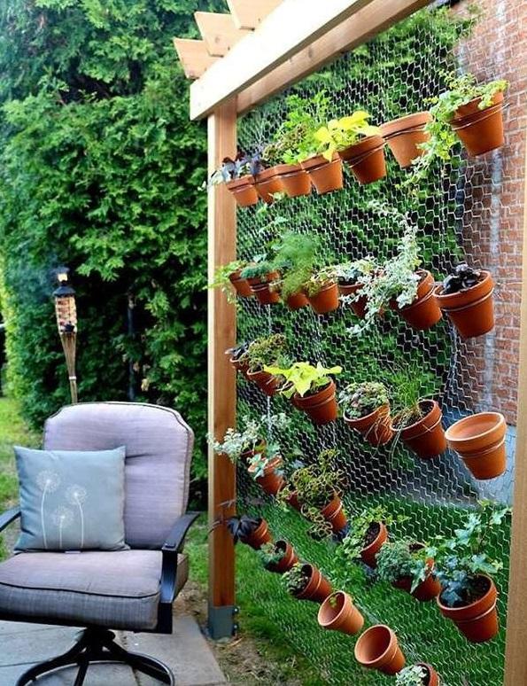 "Horta vertical em ""parede"" de arames."