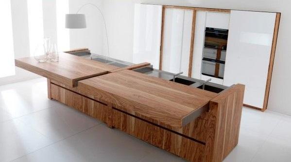 Balcão de madeira para cozinha contemporânea.