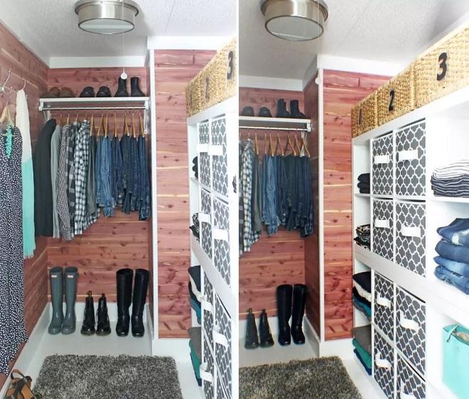 Closet forrado com tábuas de madeira cedro.