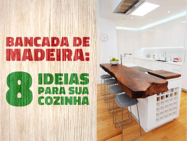 8 ideias de bancada de madeira para cozinha.