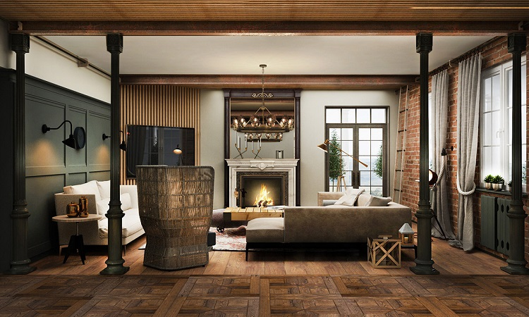 Sala de estar em estilo rústico com padrões em madeira.