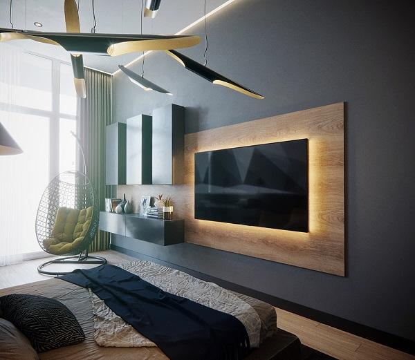 Painel de madeira para TV com suporte de iluminação.