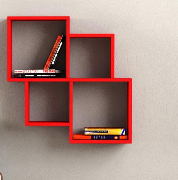 Nichos de parede simples e modernos na cor vermelha.