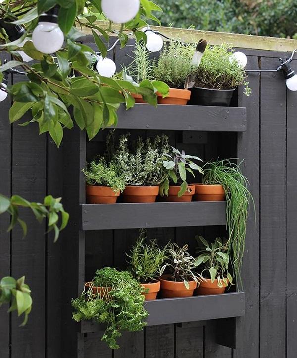 Prateleiras pretas de madeira em jardim.